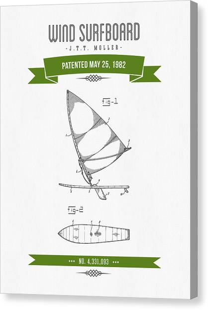 Watersports Canvas Print - 1982 Wind Surfboard Patent Drawing - Retro Green by Aged Pixel