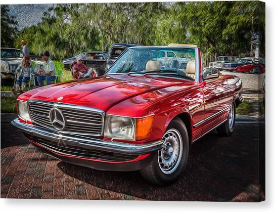 1984 Mercedes 500 Sl Painted  Canvas Print