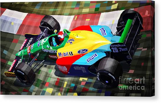Mixed-media Canvas Print - 1989 Monaco Benettonb188 Ford Cosworth J Herbert by Yuriy Shevchuk