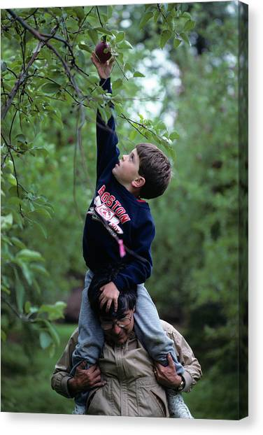 Father And Son Canvas Print - 1990 1990s Son Shouldres Father Reach by Vintage Images