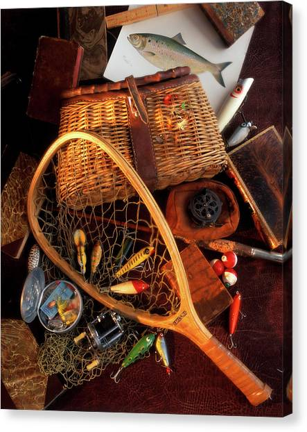 Angling Art Canvas Print - 1990s Still Life With Fishing Gear by Vintage Images