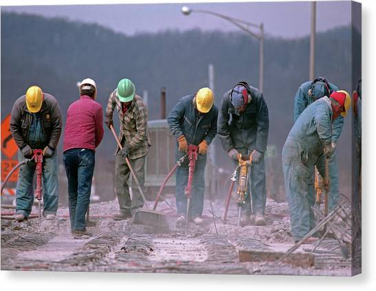 Hard Hat Canvas Print - 1990s Unidentified Workers Using by Vintage Images