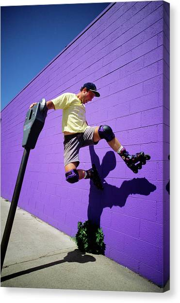 Speed Skating Canvas Print - 1990s Young Man Wearing Roller Blades by Vintage Images