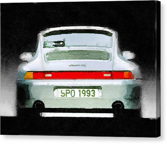 Classic Car Canvas Print - 1993 Porsche 911 Rear Watercolor by Naxart Studio