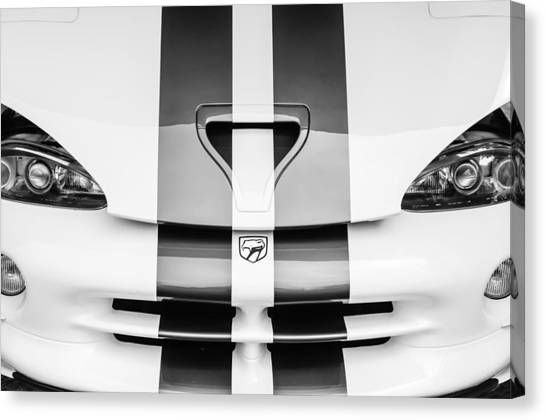 Vipers Canvas Print - 1998 Dodge Viper Gts-r Grille Emblem -0329bw by Jill Reger