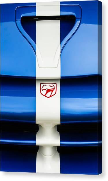 Vipers Canvas Print - 1998 Dodge Viper Gts-r Grille Emblem by Jill Reger
