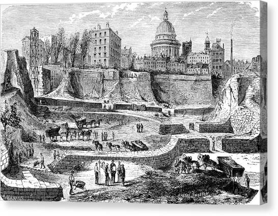 Archaeologists Canvas Print - 19th C Archaeological Excavations by Collection Abecasis