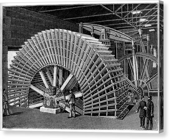 19th C Egyptian Hydraulic Factory Canvas Print by Collection Abecasis/science Photo Library