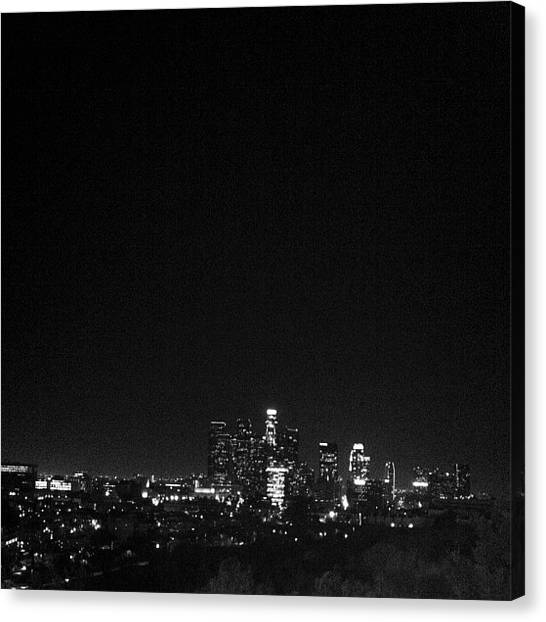 Los Angeles Skyline Canvas Print - La Skyline by Cesar Ochoa