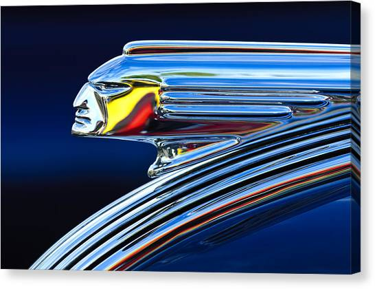 Canvas Print featuring the photograph 1939 Pontiac Silver Streak Chief Hood Ornament by Jill Reger