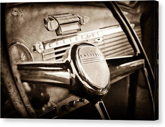 Vintage Chevrolet Truck Canvas Print - 1950 Chevrolet 3100 Pickup Truck Steering Wheel by Jill Reger