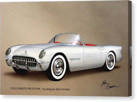 Roadrunner Canvas Print - 1953 Corvette Classic Vintage Sports Car Automotive Art by John Samsen