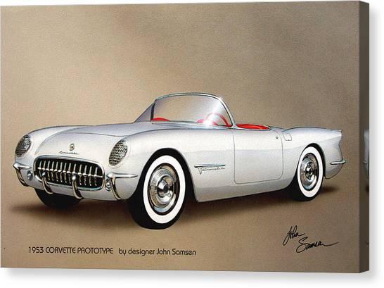 Muscle Cars Canvas Print - 1953 Corvette Classic Vintage Sports Car Automotive Art by John Samsen