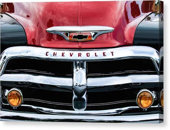 Canvas Print featuring the photograph 1955 Chevrolet 3100 Pickup Truck Grille Emblem by Jill Reger
