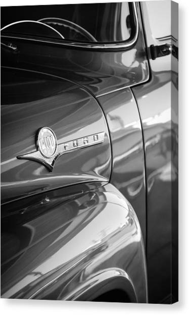 Ford Truck Canvas Print - 1956 Ford F-100 Truck Emblem by Jill Reger