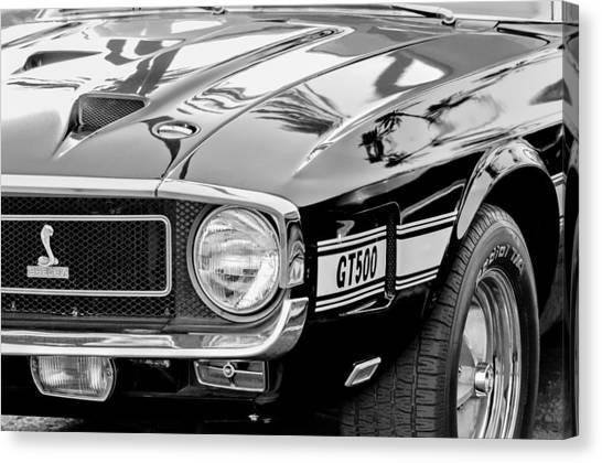 Cobras Canvas Print - 1969 Shelby Cobra Gt500 Front End - Grille Emblem by Jill Reger