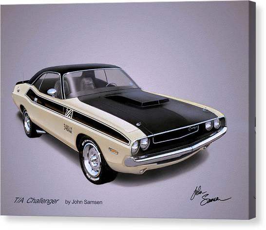 Roadrunner Canvas Print - 1970 Challenger T-a  Dodge Muscle Car Sketch Rendering by John Samsen