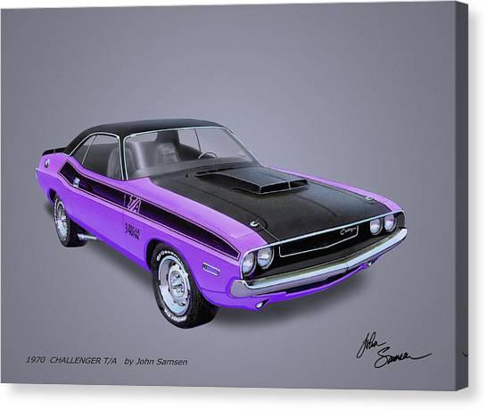Roadrunner Canvas Print - 1970 Challenger T-a  Muscle Car Sketch Rendering by John Samsen