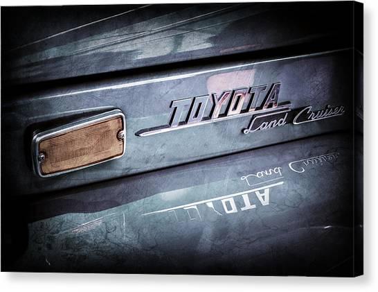 Toyota Canvas Print - 1970 Toyota Land Cruiser Fj40 Hardtop Emblem -0700ac by Jill Reger
