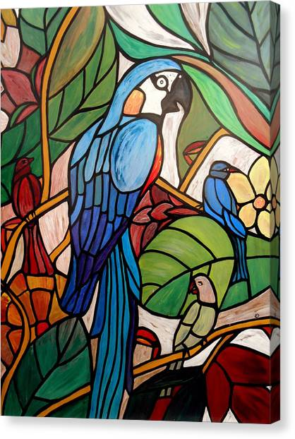 Tropical Stain Glass Canvas Print - 3 Birds On A Vine by Cynthia Amaral