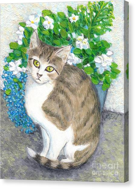 A Cat And Flowers Canvas Print