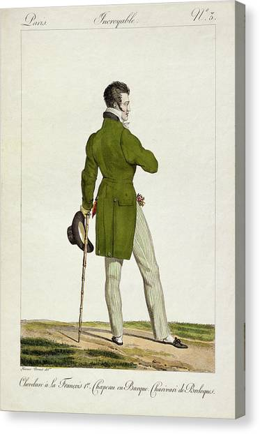Fashion Plate Canvas Print - A Dandy  by Antoine Charles Horace Vernet