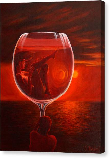 A Toast To Love And Wine Canvas Print
