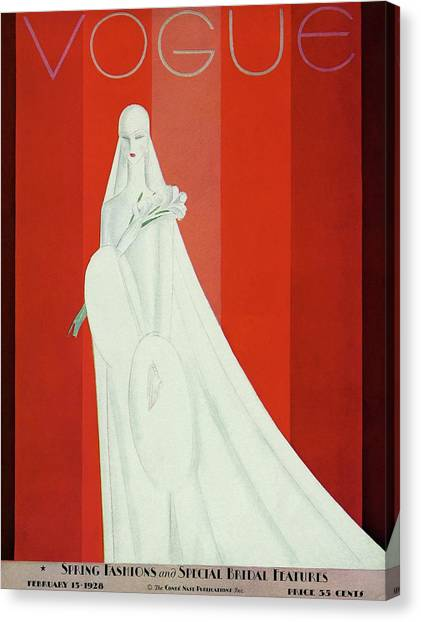 Wedding Gown Canvas Print - A Vintage Vogue Magazine Cover Of A Mannequin by Eduardo Garcia Benito