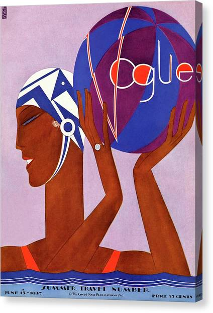 Polo Canvas Print - A Vintage Vogue Magazine Cover Of An African by Eduardo Garcia Benito