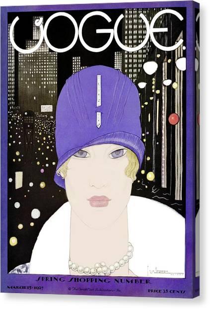 A Vogue Magazine Cover Of A Woman Canvas Print