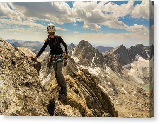 Teton National Forest Canvas Print - A Woman Rock Climber In Titcomb Basin by Kennan Harvey