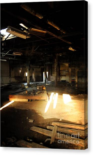 Warehouses Canvas Print - Abandoned Factory Interior by HD Connelly