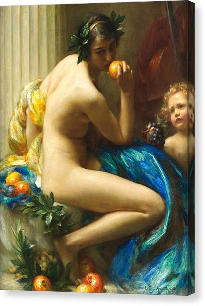 Wreath Canvas Print - Abundance by Arthur Hacker