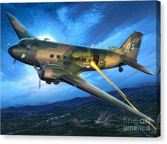 Vietnam War Canvas Print - Ac-47 Spooky by Stu Shepherd