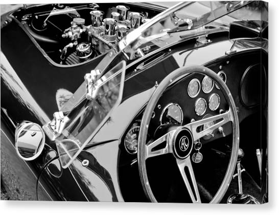 Canvas Print featuring the photograph Ac Shelby Cobra Engine - Steering Wheel by Jill Reger
