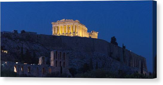 The Parthenon Canvas Print - Acropolis Of Athens At Dusk, Athens by Panoramic Images