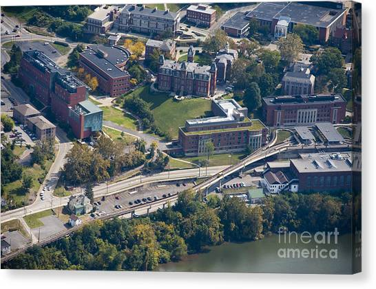 aerials of WVVU campus Canvas Print