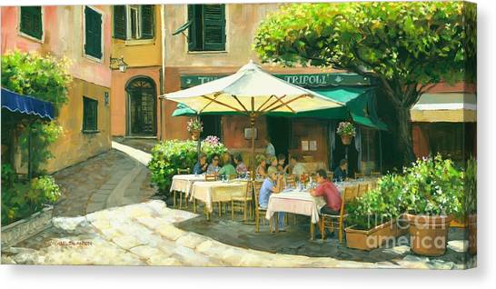 Portofino Cafe Canvas Print - Afternoon Delight by Michael Swanson
