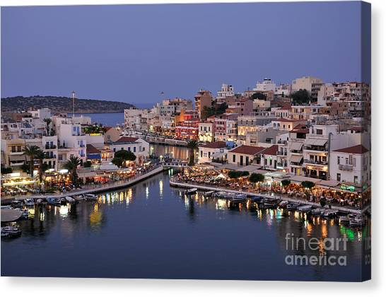 Agios Nikolaos City During Dusk Time Canvas Print