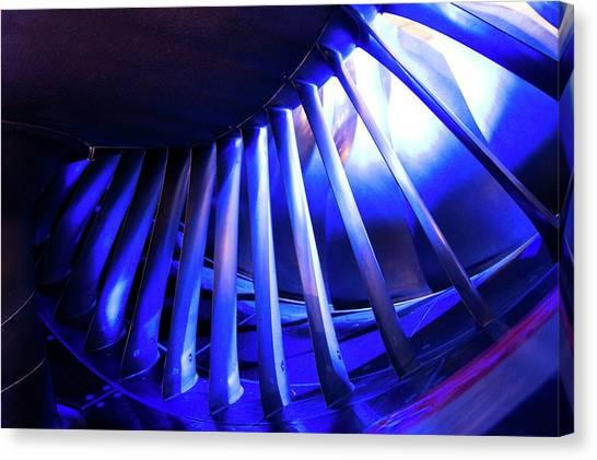 Aircraft Engine Fan Blades. Canvas Print by Mark Williamson