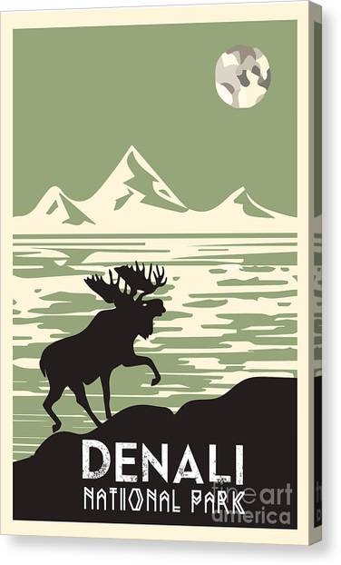 Moose Canvas Print - Alaska Denali National Park Poster by Celestial Images