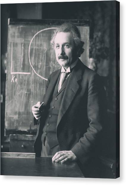 Analog Canvas Print - Albert Einstein In The Classroom by Mountain Dreams