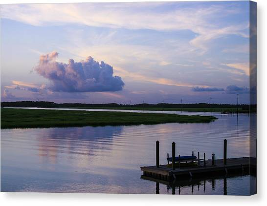 Kayaks Canvas Print - All Quiet On The Dock by Tony Delsignore