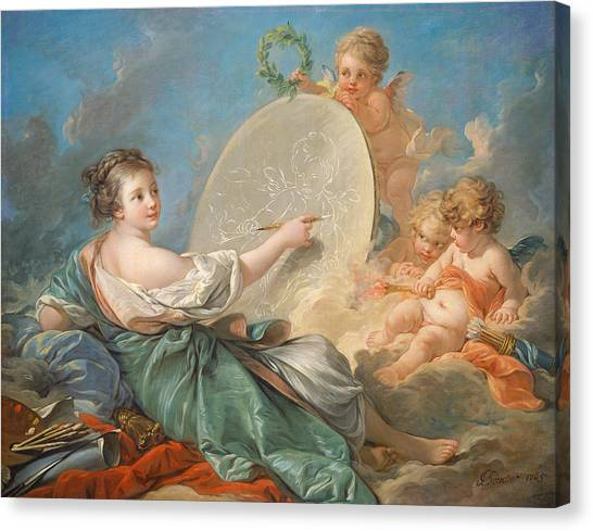 Rococo Art Canvas Print - Allegory Of Painting by Francois Boucher
