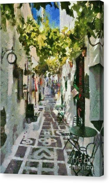 Alley In Ios Town Canvas Print