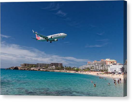 American Airlines At St Maarten Canvas Print