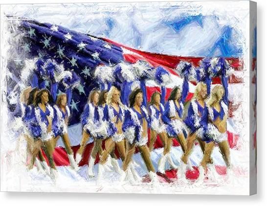 Dallas Cowboys Cheerleaders Canvas Print - Americas Sweethearts  by Carrie OBrien Sibley