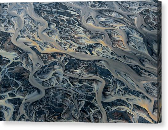 Canvas Print - An Aerial View Of Streams Of Glacier by Keith Ladzinski