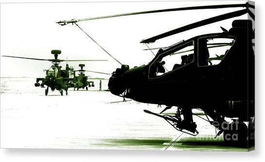 Royal Marines Canvas Print - An Apache Ah64d Helicopter by Paul Fearn