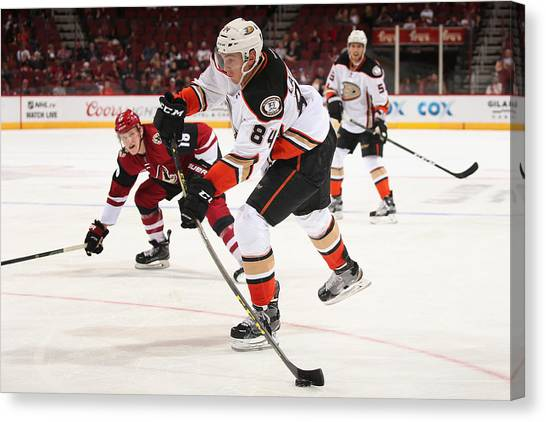 Anaheim Ducks V Arizona Coyotes Canvas Print by Christian Petersen